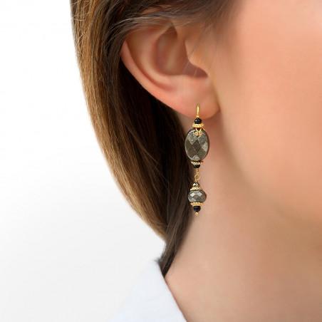 Boucles d'oreilles dormeuses sophistiquées onyx et pyrite I noir85758