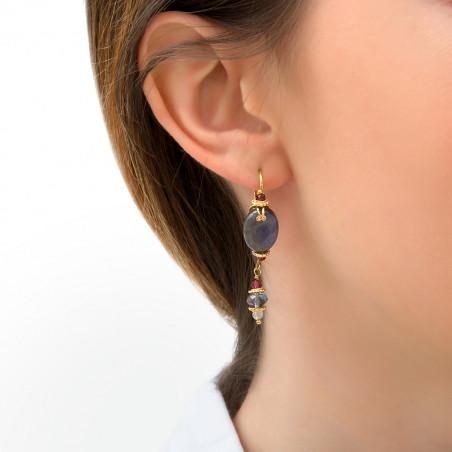 Boucles d'oreilles dormeuses féminines labradorite et grenat I gris85760
