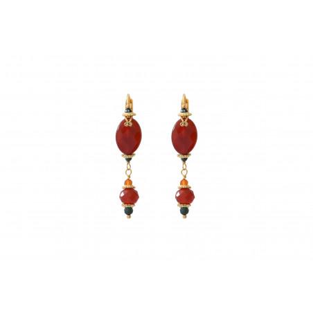 Boucles d'oreilles dormeuses glamour cornaline I rouge