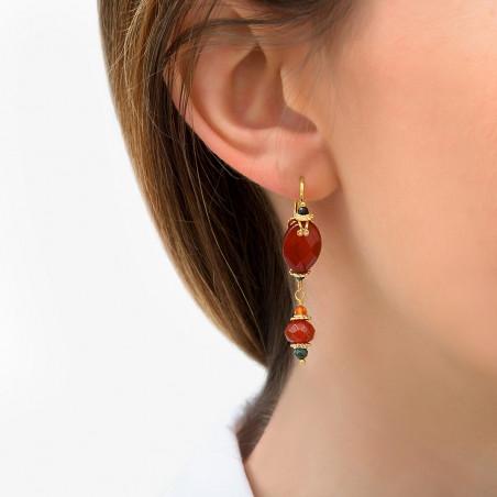 Boucles d'oreilles dormeuses glamour cornaline I rouge85762