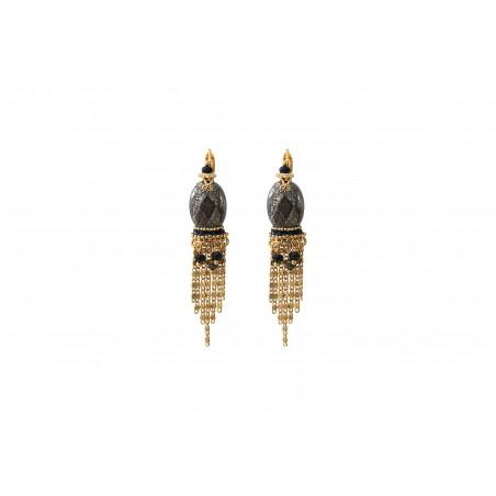 Boucles d'oreilles dormeuses raffinées pyrite et onyx I noir