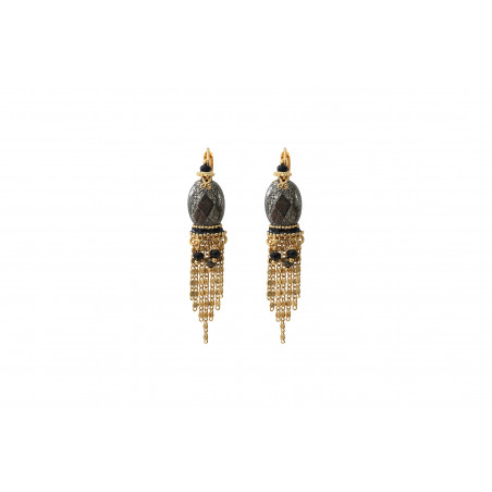 Refined pyrite and onyx sleeper earrings l black