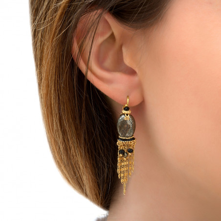 Boucles d'oreilles dormeuses raffinées pyrite et onyx I noir85764
