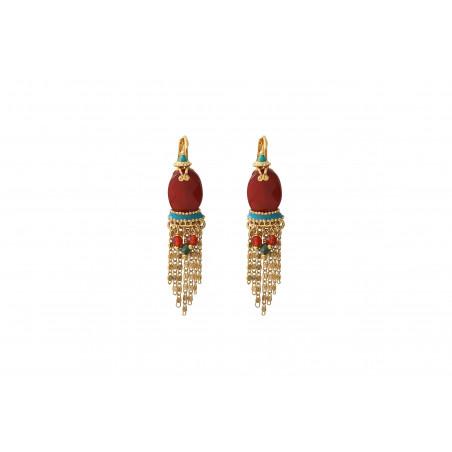 Boucles d'oreilles dormeuses modernes cornaline I rouge