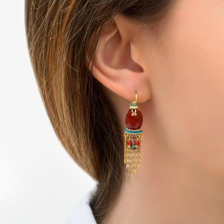 Boucles d'oreilles dormeuses modernes cornaline I rouge85768