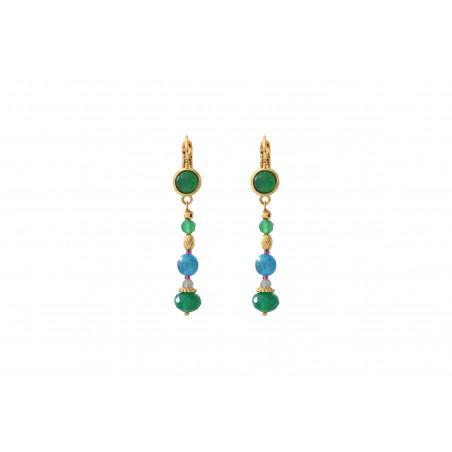Boucles d'oreilles dormeuses élégantes agate et perles du japon I vert