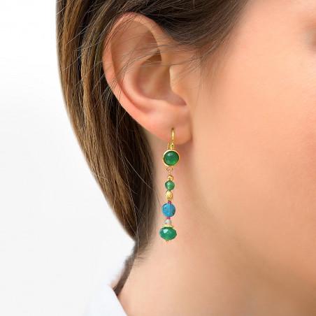 Boucles d'oreilles dormeuses élégantes agate et perles du japon I vert 85770