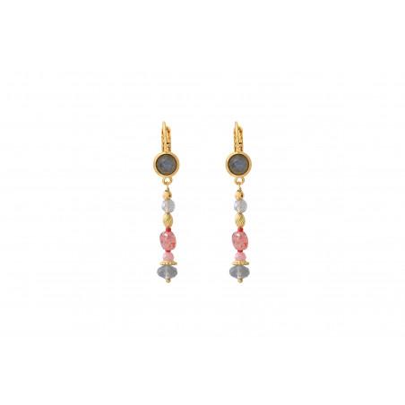 Boucles d'oreilles dormeuses bohèmes quartz et labradorite I rose