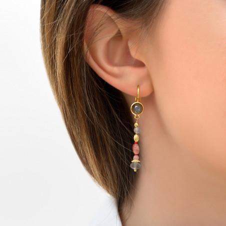 Boucles d'oreilles dormeuses bohèmes quartz et labradorite I rose85774