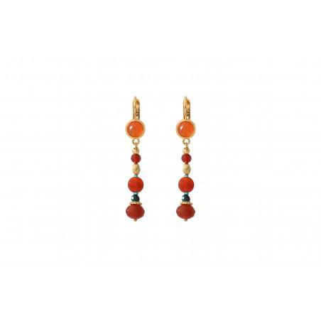 Boucles d'oreilles dormeuses festives cornaline et perles du Japon I orange