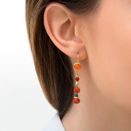 Boucles d'oreilles dormeuses festives cornaline et perles du Japon I orange85776