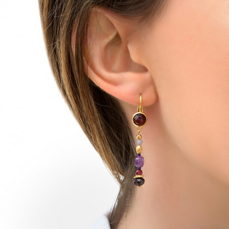 Boucles d'oreilles dormeuses poétiques grenat et améthyste I violet85778