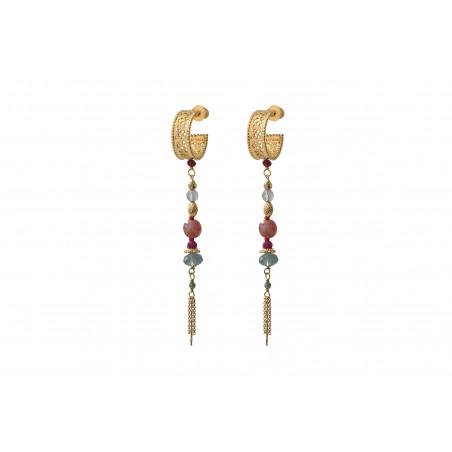 Boucles d'oreilles percées romantiques quartz et labradorite I rose
