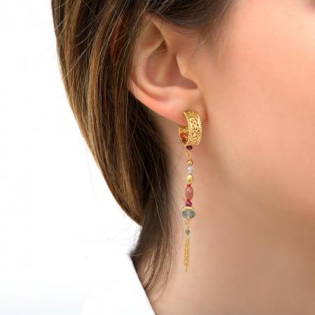 Boucles d'oreilles percées romantiques quartz et labradorite I rose85794