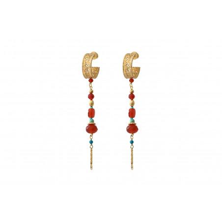 Boucles d'oreilles percées lumineuses cornaline I rouge