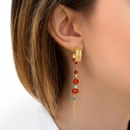 Boucles d'oreilles percées lumineuses cornaline I rouge85796