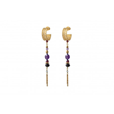 Boucles d'oreilles percées habillées améthyste et grenat I violet