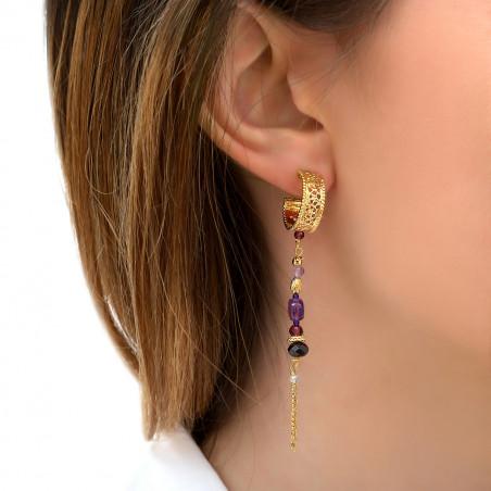 Boucles d'oreilles percées habillées améthyste et grenat I violet85798