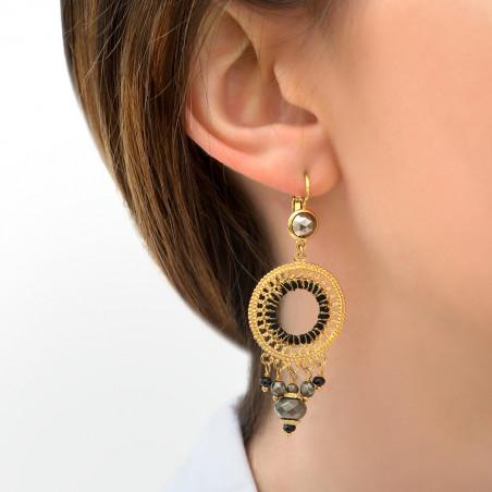 Boucles d'oreilles dormeuses raffinées onyx et pyrite I noir85806