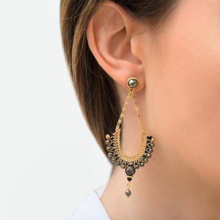 Boucles d'oreilles percées tendance onyx et pyrite I noir85824