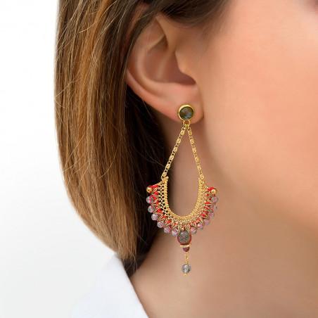 Boucles d'oreilles percées fantaisies grenat et labradorite I rouge85826