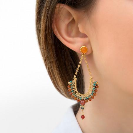 Boucles d'oreilles percées pop cornaline et chrysocolle I orange85828