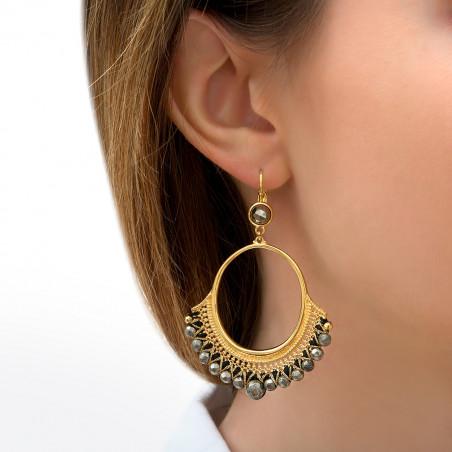Boucles d'oreilles dormeuses légère pyrite I noir85830