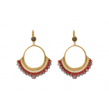 Boucles d'oreilles dormeuses glamour labradorite I rouge