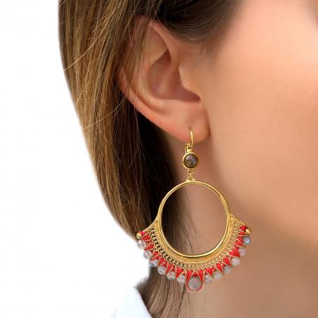 Boucles d'oreilles dormeuses glamour labradorite I rouge85832