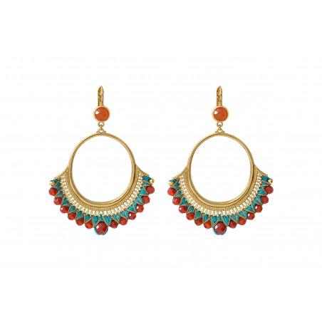 Boucles d'oreilles dormeuses ethnique cornaline I turquoise