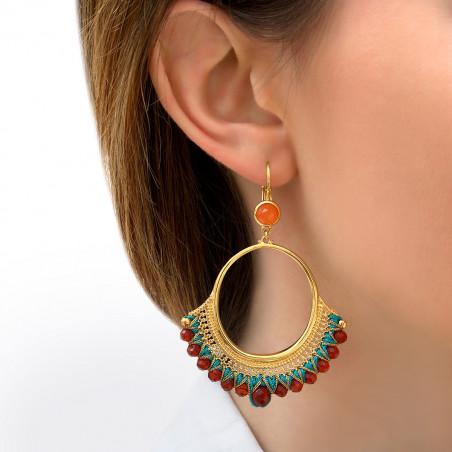 Boucles d'oreilles dormeuses ethnique cornaline I turquoise85834
