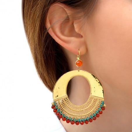 Boucles d'oreilles dormeuses tendance cornaline I turquoise85846