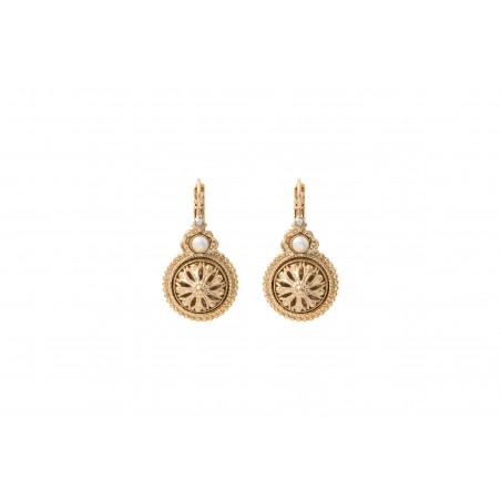 Classic cabochon and Prestige crystal sleeper earrings   white
