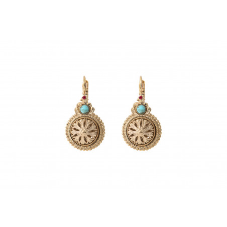 Boucles d'oreilles dormeuses féminine cabochon et cristaux Prestige I turquoise