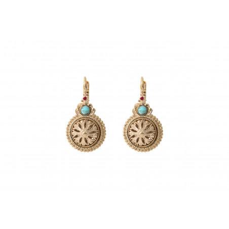 Feminine cabochon and Prestige crystal sleeper earrings   turquoise