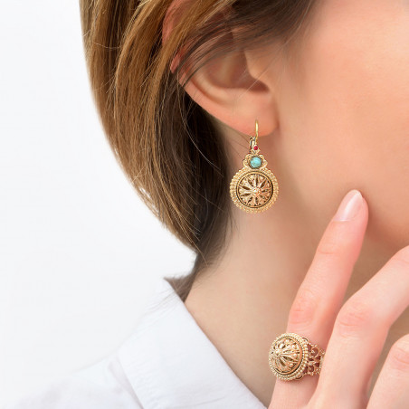 Feminine cabochon and Prestige crystal sleeper earrings   turquoise85960