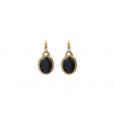 Boucles d'oreilles dormeuses raffinées cabochon et cristaux Prestige I noir