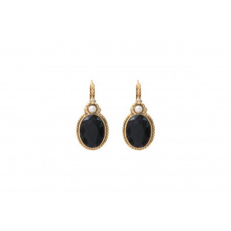 Refined cabochon and Prestige crystal sleeper earrings   black