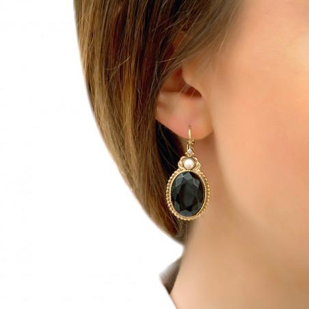 Boucles d'oreilles dormeuses raffinées cabochon et cristaux Prestige I noir85962