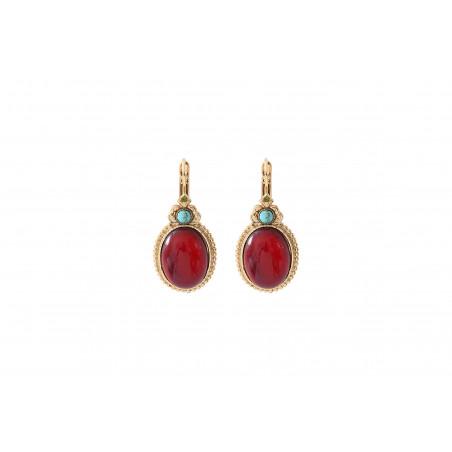 Glamorous cabochon and Prestige crystal sleeper earrings | red
