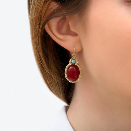 Boucles d'oreilles dormeuses glamour cabochon et cristaux Prestige I rouge85964