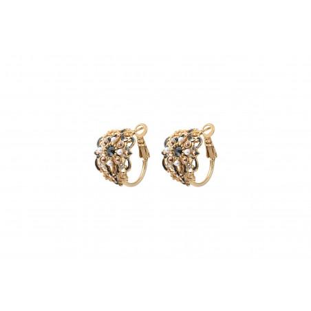 Boucles d'oreilles percées mystérieuses perles nacrées cristaux Prestige I noir
