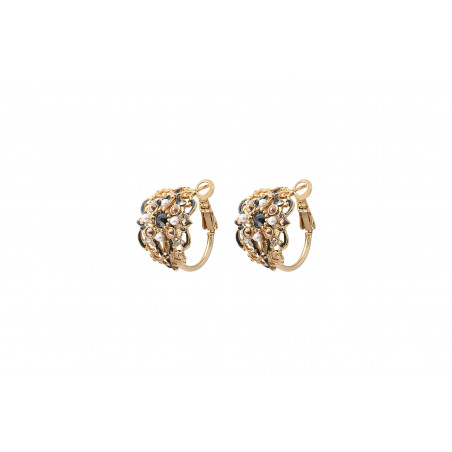 Mysterious mother-of-pearl beads and Prestige crystal earrings for pierced ears l black