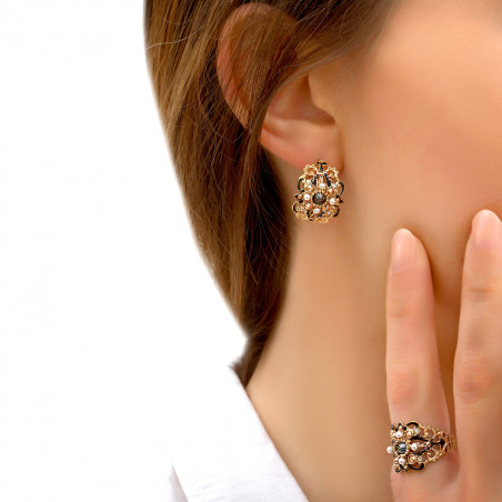 Mysterious mother-of-pearl beads and Prestige crystal earrings for pierced ears l black85966