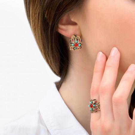 Boucles d'oreilles percées fantaisie perles nacrées cristaux Prestige I rouge85968