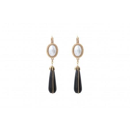 Boucles d'oreilles dormeuses sophistiquées cabochon et perle nacrée I noir