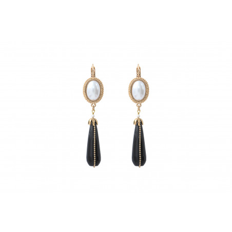 Sophisticated cabochon and mother-of-pearl bead sleeper earrings | black
