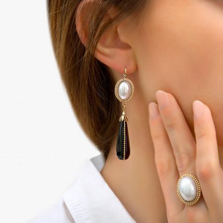 Boucles d'oreilles dormeuses sophistiquées cabochon et perle nacrée I noir85974