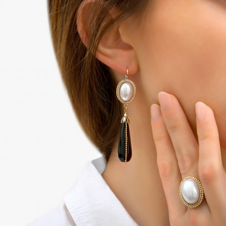 Sophisticated cabochon and mother-of-pearl bead sleeper earrings | black85974