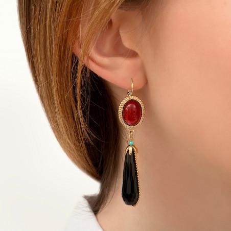 Boucles d'oreilles dormeuses baroques cabochon et turquoise I noir85976